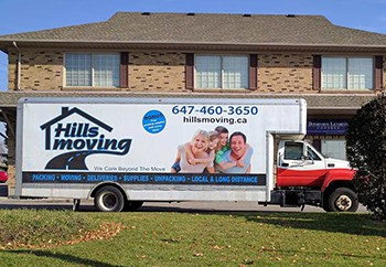 Hills Moving Truck in front of Toronto Home
