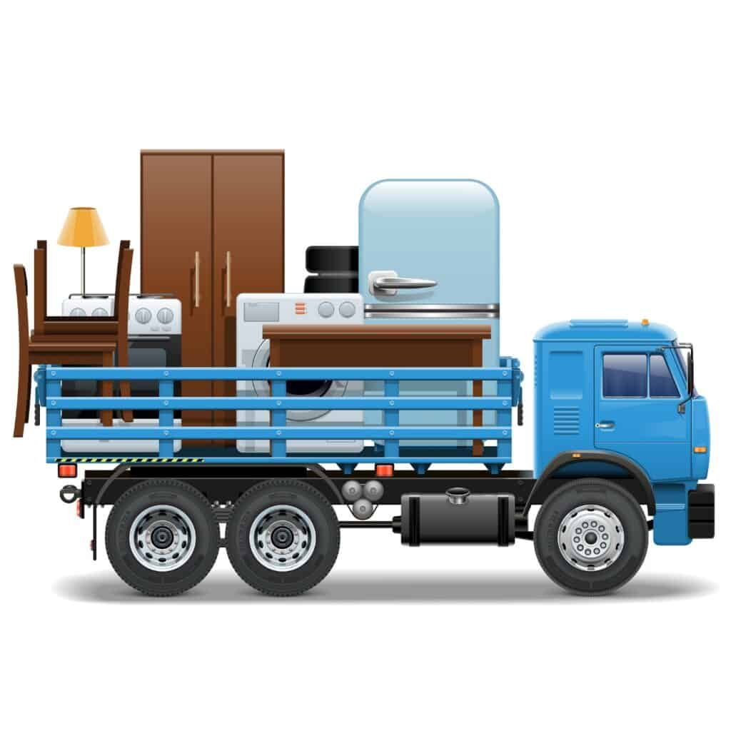 Moving Truck With Animated Appliances Onboard